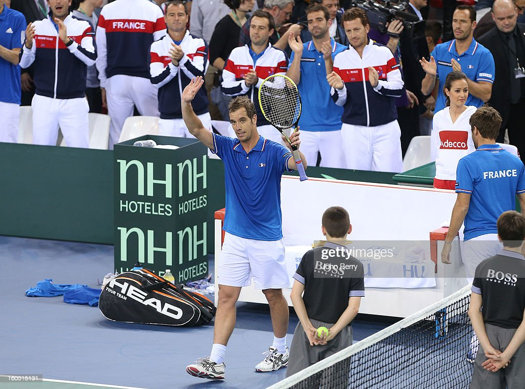 <a gi-track='captionPersonalityLinkClicked' href=/galleries/search?phrase=Richard+Gasquet&family=editorial&specificpeople=206501 ng-click='$event.stopPropagation()'>Richard Gasquet</a> of France celebrates his victory after his match against Dudi Sela of Israel on day one of the Davis Cup first round match between France and Israel at the Kindarena stadium on February 1, 2013 in Rouen, France.