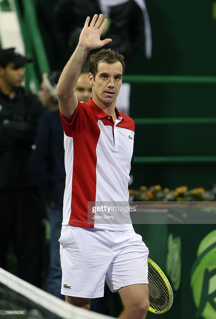 <a gi-track='captionPersonalityLinkClicked' href=/galleries/search?phrase=Richard+Gasquet&family=editorial&specificpeople=206501 ng-click='$event.stopPropagation()'>Richard Gasquet</a> of France celebrates his victory after his semi-final against Daniel Brands of Germany in day five of the Qatar Open 2013 at the Khalifa International Tennis and Squash Complex on January 4, 2013 in Doha, Qatar.