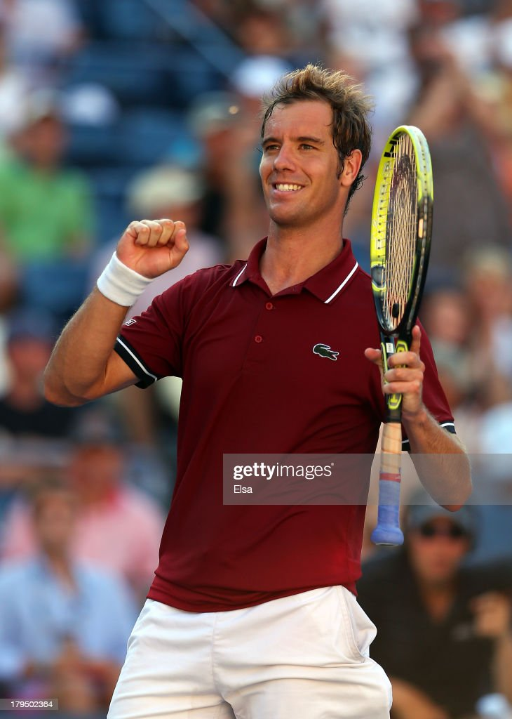 <a gi-track='captionPersonalityLinkClicked' href=/galleries/search?phrase=Richard+Gasquet&family=editorial&specificpeople=206501 ng-click='$event.stopPropagation()'>Richard Gasquet</a> of France celebrates match point after his men's singles quarter-final match against David Ferrer of Spain on Day Ten of the 2013 US Open at USTA Billie Jean King National Tennis Center on September 4, 2013 in the Flushing neighborhood of the Queens borough of New York City.