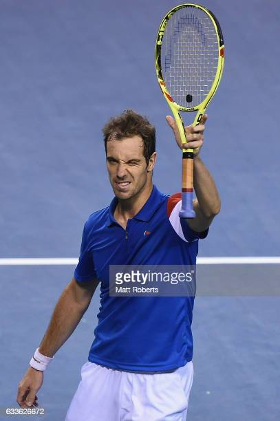 Richard Gasquet of France celebrates winning his match against Taro Daniel of Japan during the Davis Cup by BNP Paribas first round singles match...