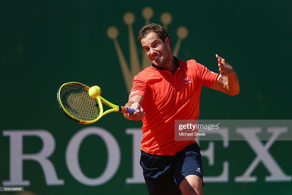 <a gi-track='captionPersonalityLinkClicked' href=/galleries/search?phrase=Richard+Gasquet&family=editorial&specificpeople=206501 ng-click='$event.stopPropagation()'>Richard Gasquet</a> of France during his straight sets victory against Nicolas Almagro of Spain during day two of the Monte Carlo Rolex Masters at Monte-Carlo Sporting Club on April 11, 2016 in Monte-Carlo, Monaco.
