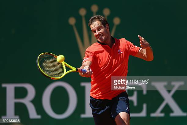 Richard Gasquet of France during his straight sets victory against Nicolas Almagro of Spain during day two of the Monte Carlo Rolex Masters at...