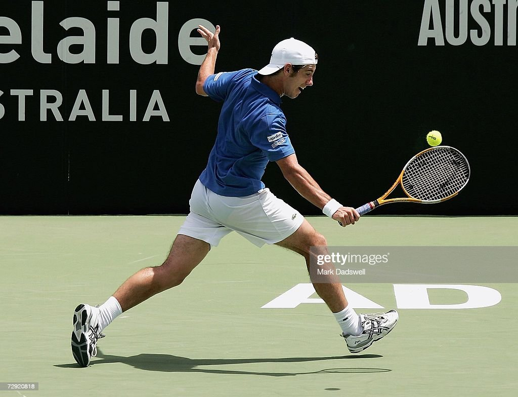 Richard Gasquet of France hits a backhand return in his match against Frank Dancevic of Canada during day five of the 2007 Next Generation Adelaide...