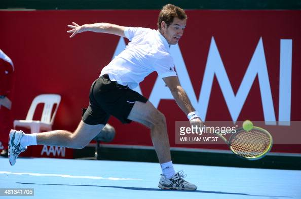 Richard Gasquet of France hits a backhand return in his match with Jordan Thompson of Australia at the invitational Kooyong Classic tennis tournament...