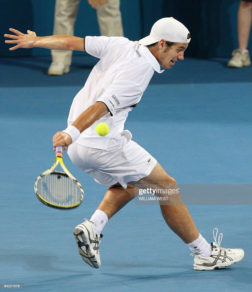 Richard Gasquet of France hits a backhand return in his victory over compatriot JoWilfied Tsonga in the quarterfinals of the Brisbane International...