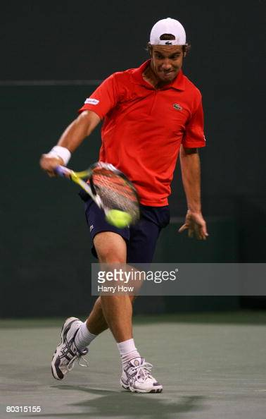 Richard Gasquet of France hits a backhand to James Blake during the Pacific Life Open at the Indian Wells Tennis Garden on March 19 2008 in Indian...