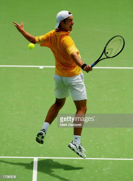Richard Gasquet of France hits a backhand volley against Alberto Martin of Spain during the AAPT Championships played at Memorial Drive in Adelaide...