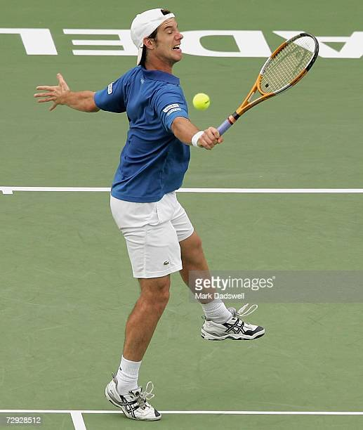 Richard Gasquet of France hits a backhand volley in his match with Chris Guccione of Australia during day six of the 2007 Next Generation Adelaide...