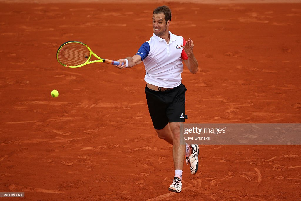 <a gi-track='captionPersonalityLinkClicked' href=/galleries/search?phrase=Richard+Gasquet&family=editorial&specificpeople=206501 ng-click='$event.stopPropagation()'>Richard Gasquet</a> of France hits a forehand during the Men's Singles second round match against Bjorn Fratangelo of the United States on day four of the 2016 French Open at Roland Garros on May 25, 2016 in Paris, France.