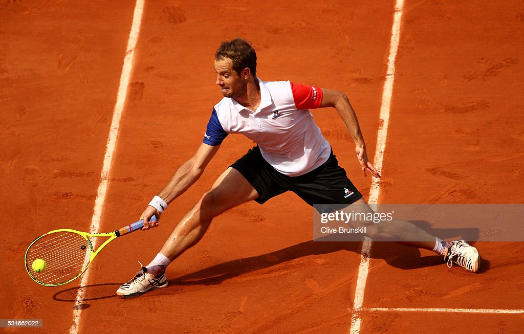 <a gi-track='captionPersonalityLinkClicked' href=/galleries/search?phrase=Richard+Gasquet&family=editorial&specificpeople=206501 ng-click='$event.stopPropagation()'>Richard Gasquet</a> of France hits a forehand during the Men's Singles third round match against Nick Kyrgios of Australia on day six of the 2016 French Open at Roland Garros on May 27, 2016 in Paris, France.