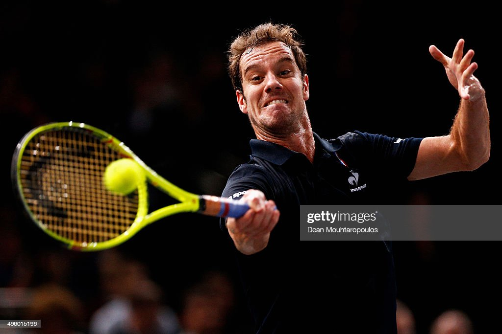 <a gi-track='captionPersonalityLinkClicked' href=/galleries/search?phrase=Richard+Gasquet&family=editorial&specificpeople=206501 ng-click='$event.stopPropagation()'>Richard Gasquet</a> of France in action against Andy Murray of Great Britain during Day 5 of the BNP Paribas Masters held at AccorHotels Arena on November 6, 2015 in Paris, France.