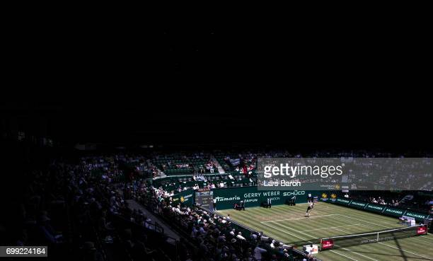 Richard Gasquet of France in action during his match against Bernard Tomic of Australia during Day 5 of the Gerry Weber Open 2017 at Gerry Weber...