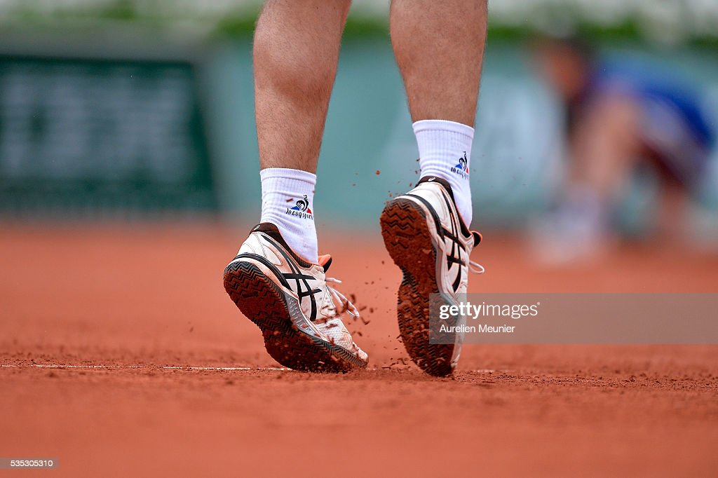 <a gi-track='captionPersonalityLinkClicked' href=/galleries/search?phrase=Richard+Gasquet&family=editorial&specificpeople=206501 ng-click='$event.stopPropagation()'>Richard Gasquet</a> of France in action during his men's singles fourth round match against Kei Nishikori of Japan on day eight of the 2016 French Open at Roland Garros on May 29, 2016 in Paris, France.