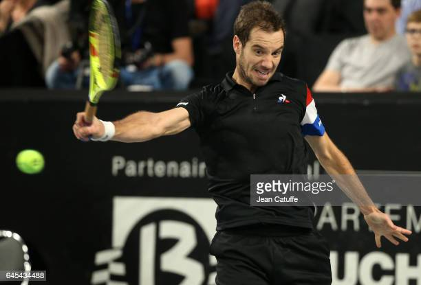 Richard Gasquet of France in action during his semifinal at the Open 13 an ATP 250 tennis tournament at Palais des Sports on February 25 2017 in...