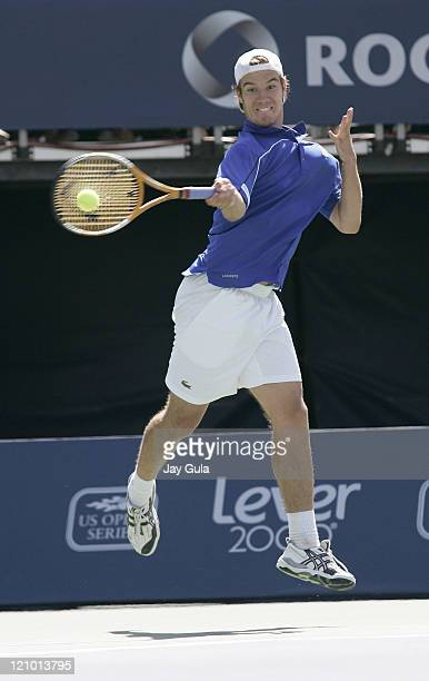 Richard Gasquet of France in action vs Roger Federer of Switzerland during the final of the Rogers Cup ATP Master Series tennis tournament at the...