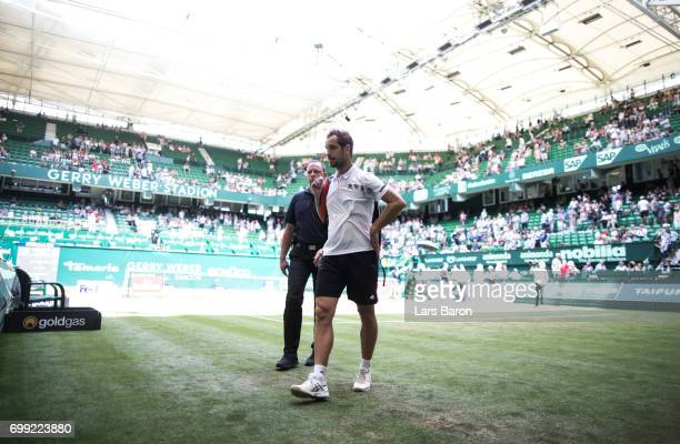 Richard Gasquet of France is seen after winning his match against Bernard Tomic of Australia during Day 5 of the Gerry Weber Open 2017 at Gerry Weber...