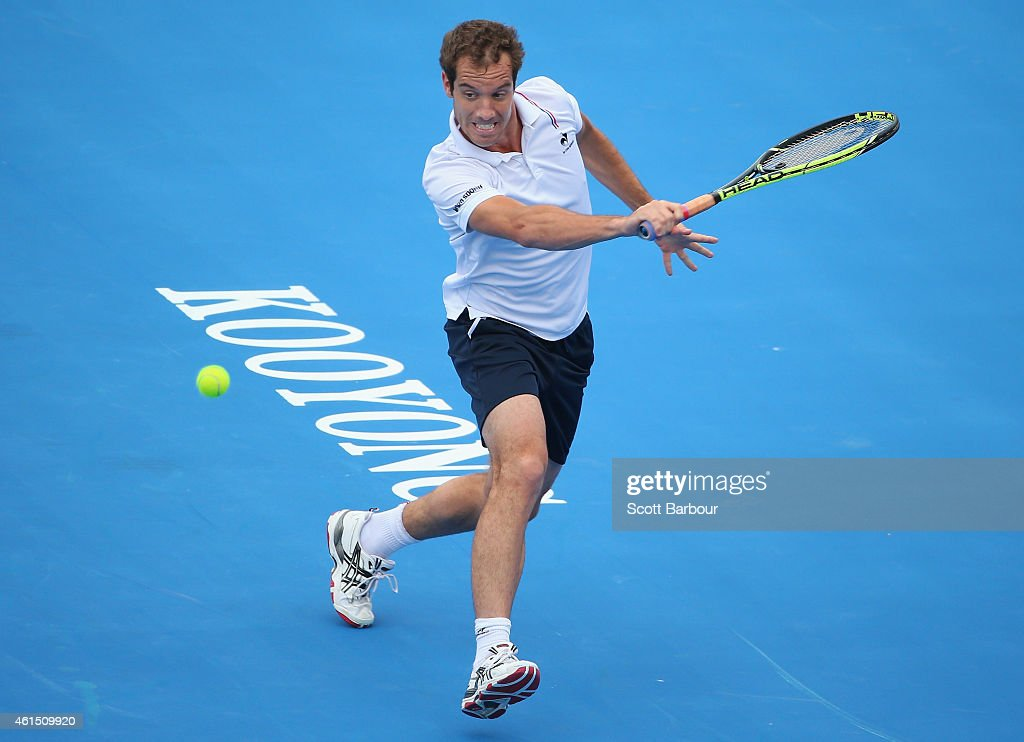 <a gi-track='captionPersonalityLinkClicked' href=/galleries/search?phrase=Richard+Gasquet&family=editorial&specificpeople=206501 ng-click='$event.stopPropagation()'>Richard Gasquet</a> of France plays a backhand during his match against Feliciano Lopez of Spain during day two of the Priceline Pharmacy Classic at Kooyong on January 14, 2015 in Melbourne, Australia.