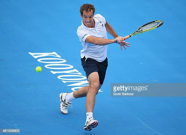 Richard Gasquet of France plays a backhand during his match against Feliciano Lopez of Spain during day two of the Priceline Pharmacy Classic at...