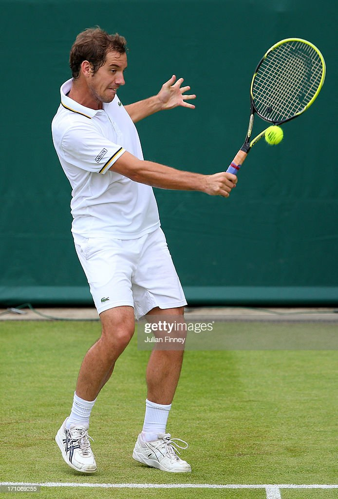 <a gi-track='captionPersonalityLinkClicked' href=/galleries/search?phrase=Richard+Gasquet&family=editorial&specificpeople=206501 ng-click='$event.stopPropagation()'>Richard Gasquet</a> of France plays a backhand in his match against Juan Martin Del Potro of Argentina during The Boodles Tennis Event at Stoke Park on June 21, 2013 in Stoke Poges, England.