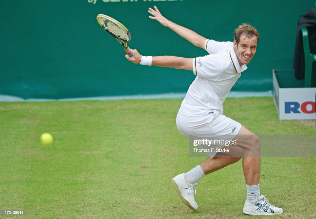 Richard Gasquet of France plays a backhand in his match against Jurgen Melzer of Austria during day four of the Gerry Weber Open at Gerry Weber Stadium on June 13, 2013 in Halle, Germany.