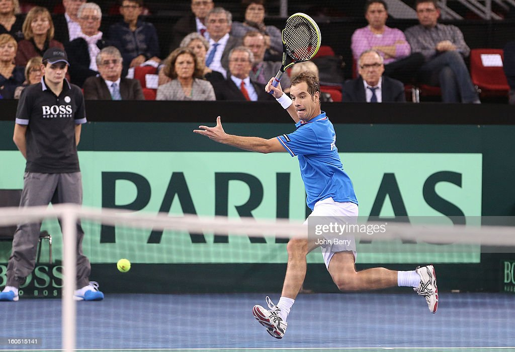 Richard Gasquet of France plays a forehand during his match against Dudi Sela of Israel on day one of the Davis Cup first round match between France and Israel at the Kindarena stadium on February 1, 2013 in Rouen, France.