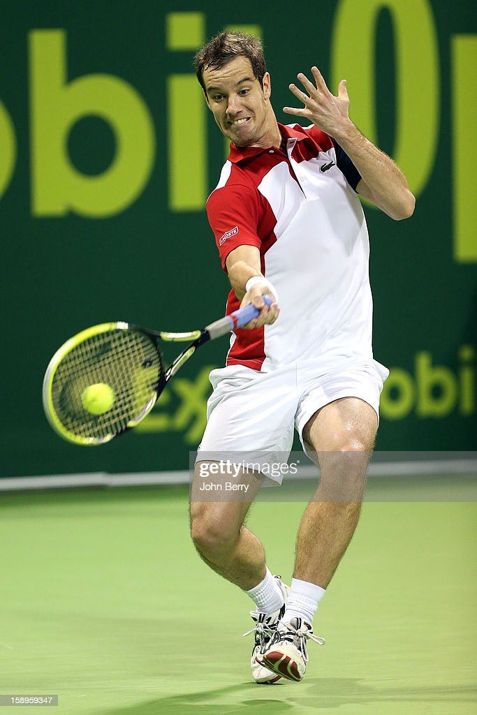 <a gi-track='captionPersonalityLinkClicked' href=/galleries/search?phrase=Richard+Gasquet&family=editorial&specificpeople=206501 ng-click='$event.stopPropagation()'>Richard Gasquet</a> of France plays a forehand during his semi-final against Daniel Brands of Germany in day five of the Qatar Open 2013 at the Khalifa International Tennis and Squash Complex on January 4, 2013 in Doha, Qatar.