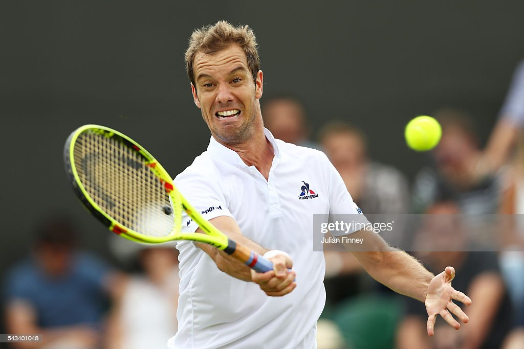 <a gi-track='captionPersonalityLinkClicked' href=/galleries/search?phrase=Richard+Gasquet&family=editorial&specificpeople=206501 ng-click='$event.stopPropagation()'>Richard Gasquet</a> of France plays a forehand during the Men's Singles first round match against Aljaz Bedene of Great Britain on day two of the Wimbledon Lawn Tennis Championships at the All England Lawn Tennis and Croquet Club on June 28, 2016 in London, England.
