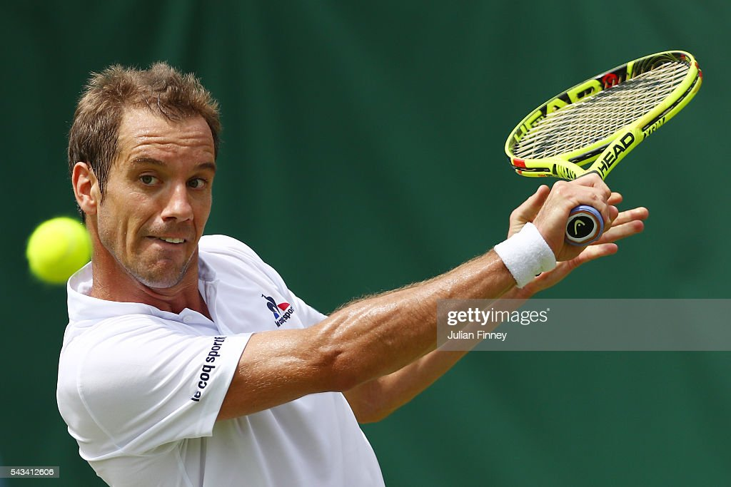 Richard Gasquet of France plays a forehand during the Men's Singles first round match against Aljaz Bedene of Great Britain on day two of the Wimbledon Lawn Tennis Championships at the All England Lawn Tennis and Croquet Club on June 28, 2016 in London, England.