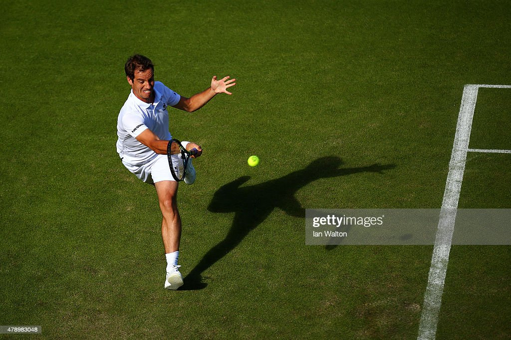 Richard Gasquet of France plays a forehand in his Gentlemen's Singles first round match against Luke Saville of Australia during day one of the Wimbledon Lawn Tennis Championships at the All England Lawn Tennis and Croquet Club on June 29, 2015 in London, England.