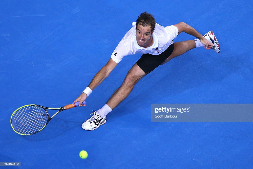 <a gi-track='captionPersonalityLinkClicked' href=/galleries/search?phrase=Richard+Gasquet&family=editorial&specificpeople=206501 ng-click='$event.stopPropagation()'>Richard Gasquet</a> of France plays a forehand in his third round match against Tommy Robredo of Spain during day five of the 2014 Australian Open at Melbourne Park on January 17, 2014 in Melbourne, Australia.