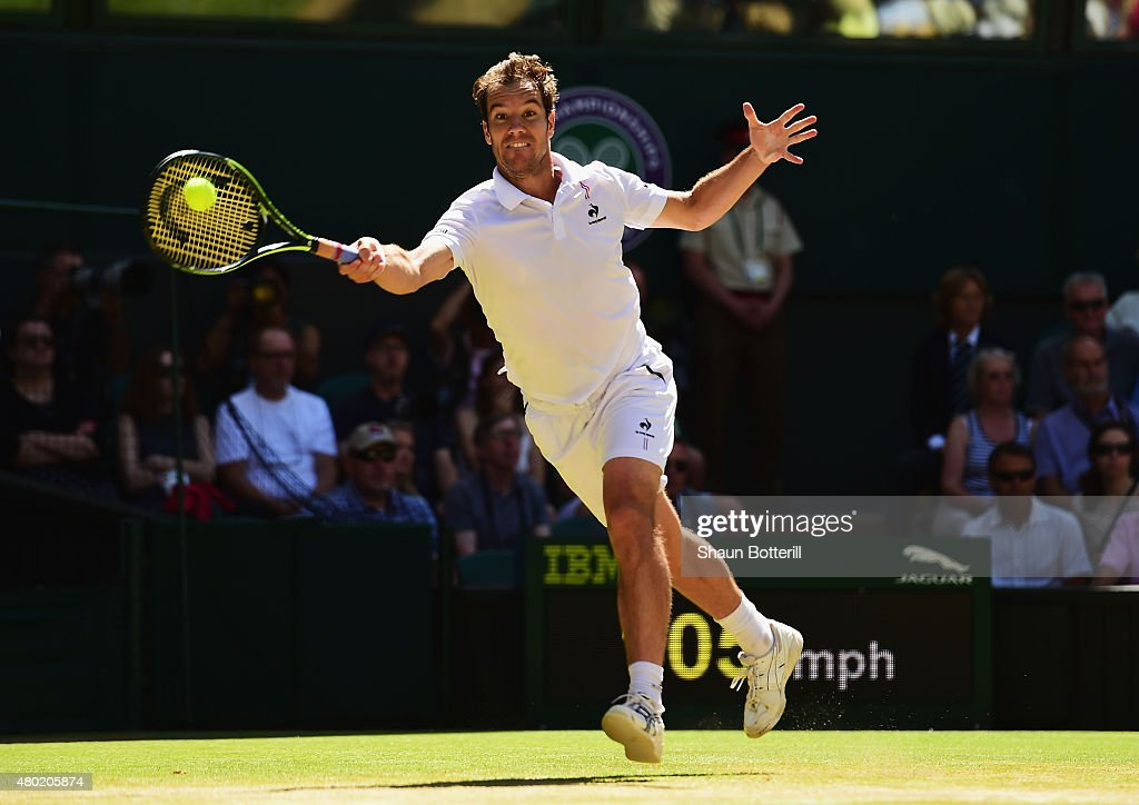 <a gi-track='captionPersonalityLinkClicked' href=/galleries/search?phrase=Richard+Gasquet&family=editorial&specificpeople=206501 ng-click='$event.stopPropagation()'>Richard Gasquet</a> of France plays a forehand in the Gentlemens Singles Semi Final match against Novak Djokovic of Serbia during day eleven of the Wimbledon Lawn Tennis Championships at the All England Lawn Tennis and Croquet Club on July 10, 2015 in London, England.
