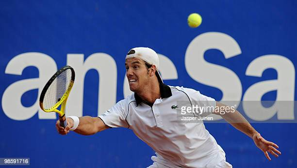 Richard Gasquet of France plays a forehand to Fernando Verdasco of Spain on day three of the ATP 500 World Tour Barcelona Open Banco Sabadell 2010...