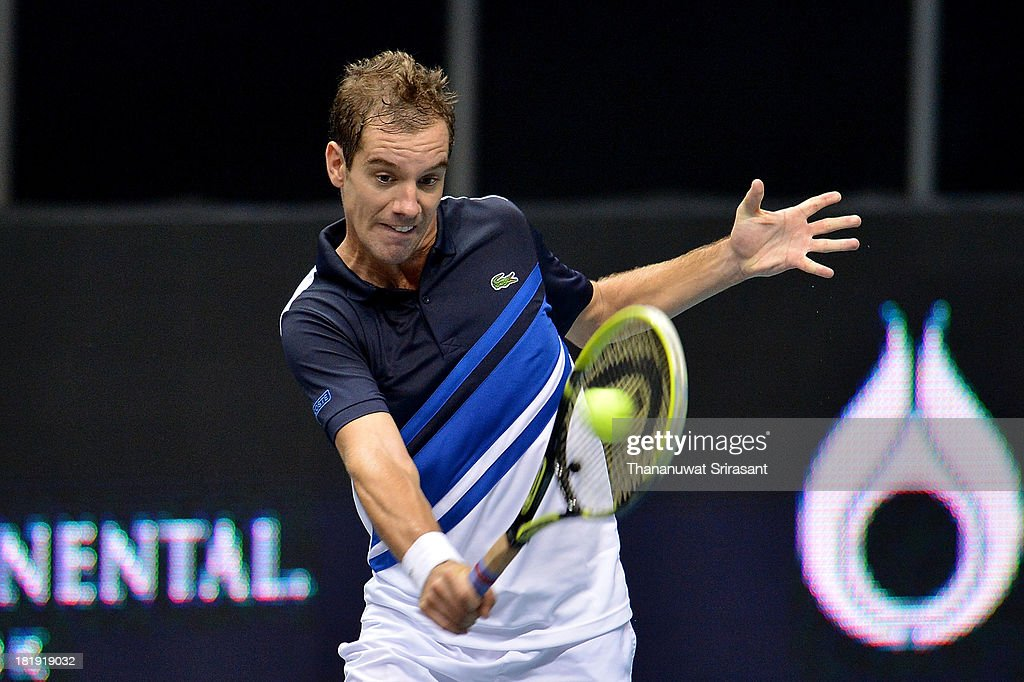 <a gi-track='captionPersonalityLinkClicked' href=/galleries/search?phrase=Richard+Gasquet&family=editorial&specificpeople=206501 ng-click='$event.stopPropagation()'>Richard Gasquet</a> of France plays a shot in his match against Lukas Lacko of Slovakia during the 2013 Thailand Open at Impact Arena on September 26, 2013 in Bangkok, Thailand.