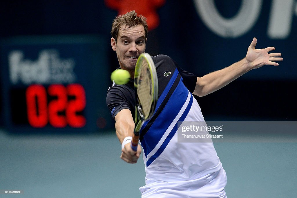 Richard Gasquet of France plays a shot in his match against Lukas Lacko of Slovakia during the 2013 Thailand Open at Impact Arena on September 26, 2013 in Bangkok, Thailand.