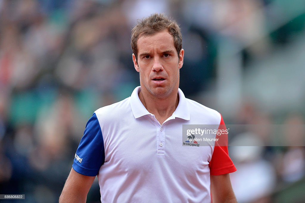 <a gi-track='captionPersonalityLinkClicked' href=/galleries/search?phrase=Richard+Gasquet&family=editorial&specificpeople=206501 ng-click='$event.stopPropagation()'>Richard Gasquet</a> of France reacts during his men's singles fourth round match against Kei Nishikori of Japan on day eight of the 2016 French Open at Roland Garros on May 29, 2016 in Paris, France.