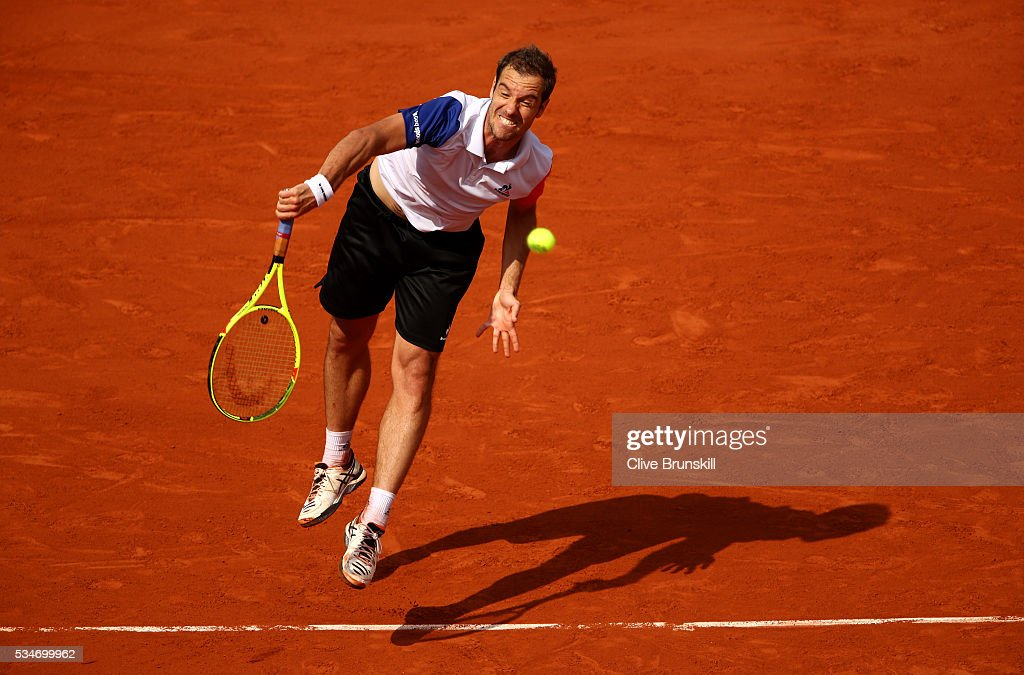 <a gi-track='captionPersonalityLinkClicked' href=/galleries/search?phrase=Richard+Gasquet&family=editorial&specificpeople=206501 ng-click='$event.stopPropagation()'>Richard Gasquet</a> of France reacts during the Men's Singles third round match against Nick Kyrgios of Australia on day six of the 2016 French Open at Roland Garros on May 27, 2016 in Paris, France.