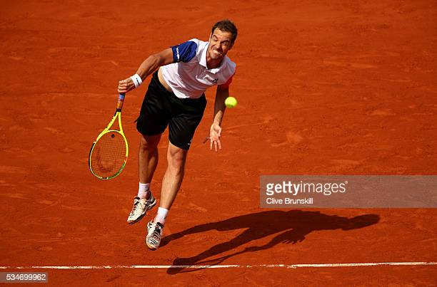 Richard Gasquet of France reacts during the Men's Singles third round match against Nick Kyrgios of Australia on day six of the 2016 French Open at...