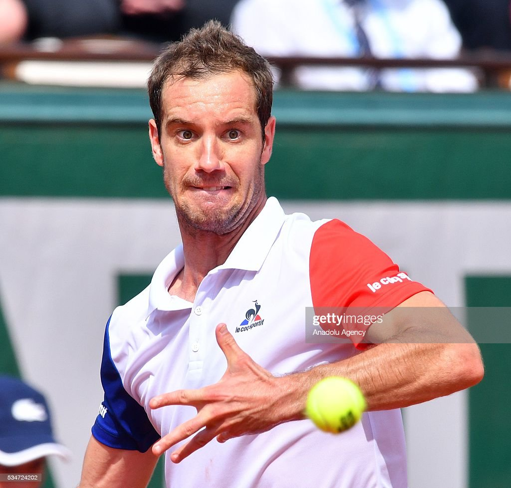 Richard Gasquet of France returns to Nick Kyrgios (not seen) of Australia during the men's single third round match at the French Open tennis tournament at Roland Garros Stadium in Paris, France on May 27, 2016.