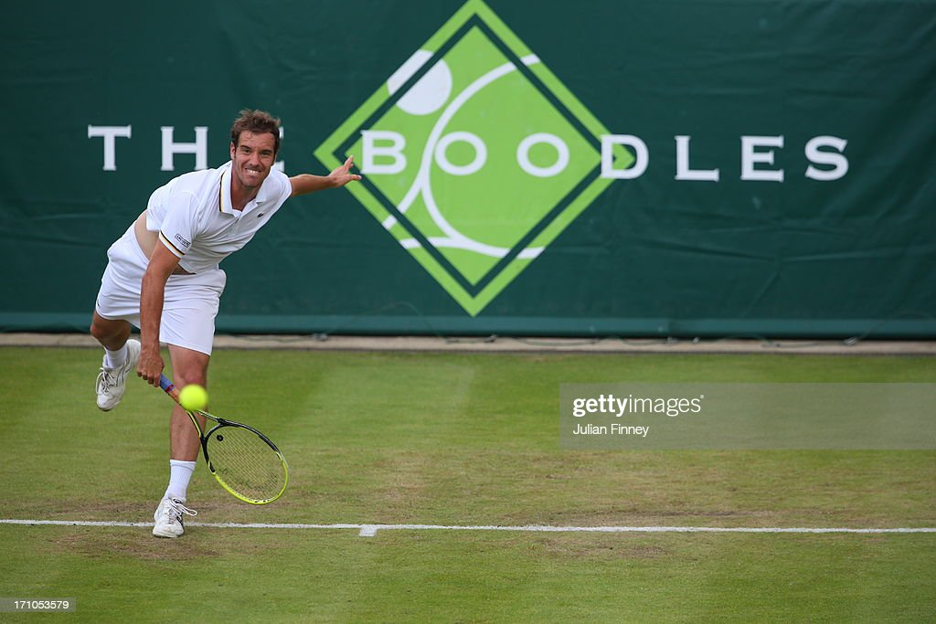 <a gi-track='captionPersonalityLinkClicked' href=/galleries/search?phrase=Richard+Gasquet&family=editorial&specificpeople=206501 ng-click='$event.stopPropagation()'>Richard Gasquet</a> of France serves in his match against Juan Martin Del Potro of Argentina during The Boodles Tennis Event at Stoke Park on June 21, 2013 in Stoke Poges, England.