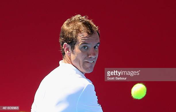Richard Gasquet of France watches the ball during his match against Gilles Simon of France during day three of the AAMI Classic at Kooyong on January...