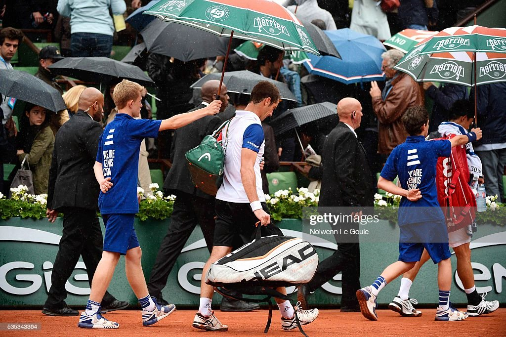 Richard Gasquet, play is interrupted due to rain during the Men's Singles on day eight of the French Open 2016 on May 29, 2016 in Paris, France.