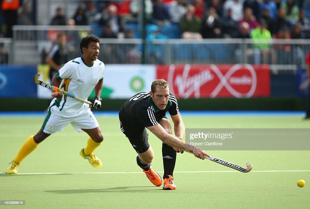 Richard Gay of Wales strikes the ball during the men's preliminaries match between Wales and South Africa at the Glasgow National Hockey Centre during day six of the Glasgow 2014 Commonwealth Games on July 29, 2014 in Glasgow, United Kingdom.