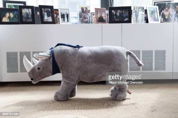 Richard Gelfond's office is photographed for The Hollywood Reporter on April 28 2016 in New York City Rhinoceros plush toy PUBLISHED IMAGE