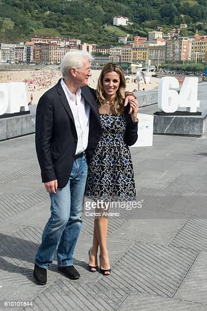 Richard Gere and Alejandra Silva attend 'Time Out Of Mind' photocall during 64th San sebastian Film Festival on September 24 2016 in San Sebastian...