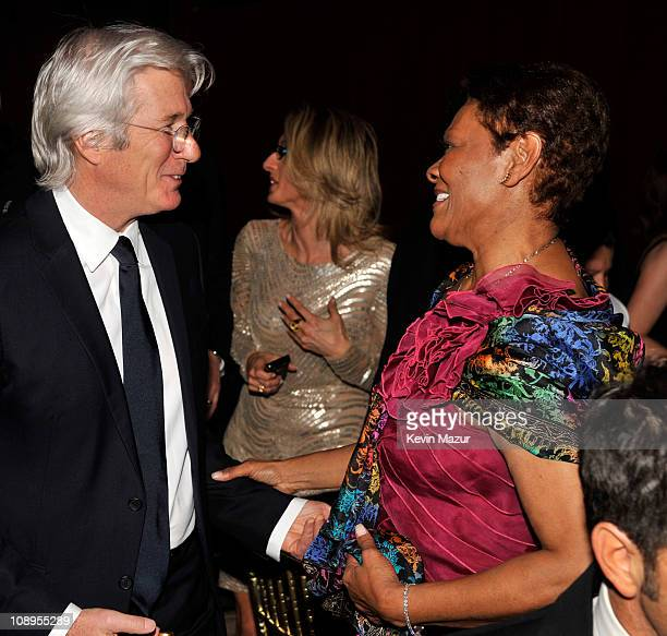 Richard Gere and Dionne Warwick attends the amfAR New York Gala to kick off Fall 2011 Fashion Week at Cipriani Wall Street on February 9 2011 in New...