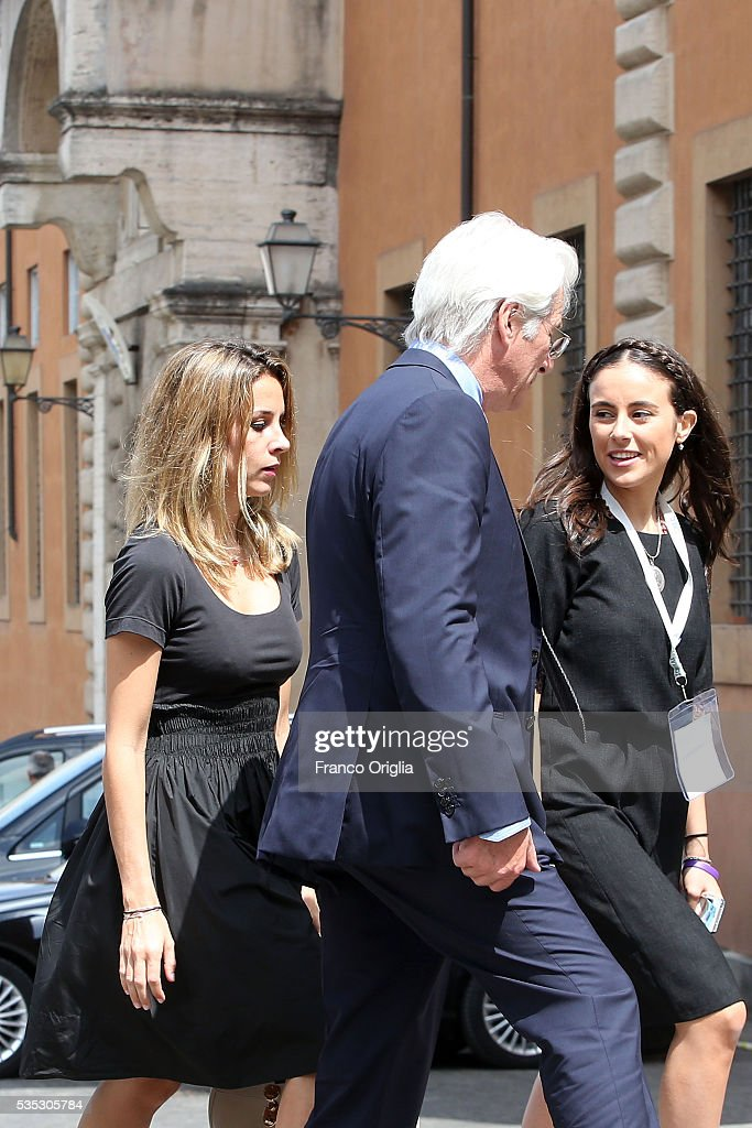 Richard Gere and his girlfriend Alejandra Silva arrive at 'Un Muro o Un Ponte' Seminary held by Pope Francis at the Paul VI Hall on May 29, 2016 in Vatican City, Vatican.