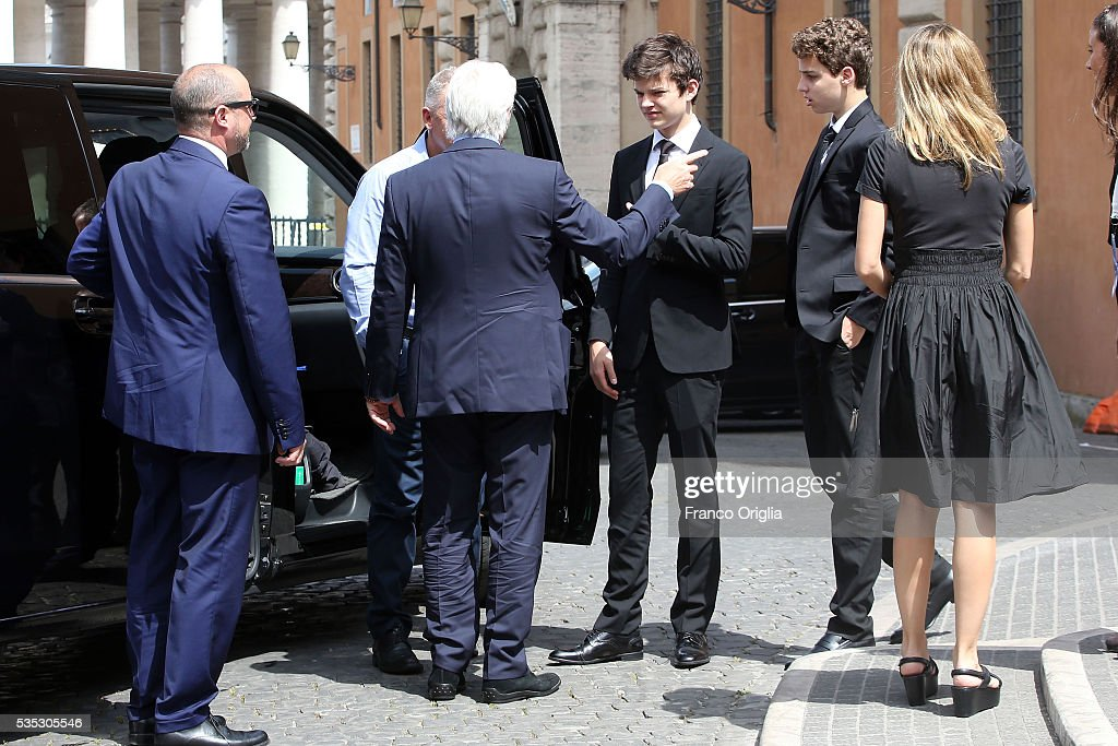 Richard Gere and his son Homer James Jigme Gere and girlfriend Alejandra Silva arrive at 'Un Muro o Un Ponte' Seminary held by Pope Francis at the Paul VI Hall on May 29, 2016 in Vatican City, Vatican.