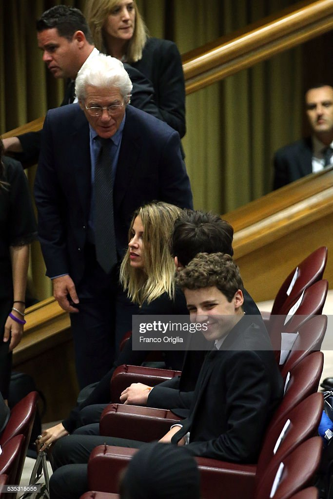 Richard Gere and his son Homer James Jigme Gere and girlfriend Alejandra Silva attends 'Un Muro o Un Ponte' Seminary held by Pope Francis at the Paul VI Hall on May 29, 2016 in Vatican City, Vatican.