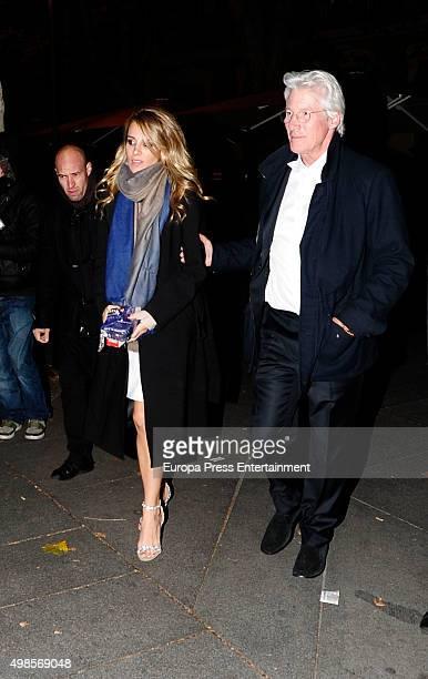 Richard Gere and his Spanish girlfriend Alejandra Silva are seen leaving 'Goizeko' restaurant on November 23 2015 in Madrid Spain