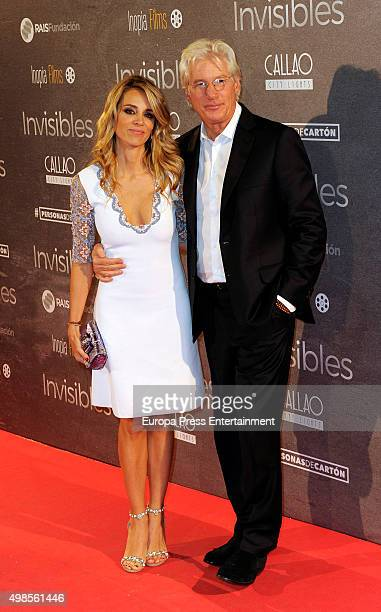 Richard Gere and his Spanish girlfriend Alejandra Silva attend 'Invisibles ' charity premiere at Callao cinema on November 23 2015 in Madrid Spain